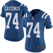 Wholesale Cheap Nike Colts #74 Anthony Castonzo Royal Blue Women's Stitched NFL Limited Rush Jersey