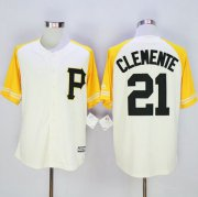 Wholesale Cheap Pirates #21 Roberto Clemente Cream/Gold Exclusive New Cool Base Stitched MLB Jersey