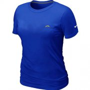 Wholesale Cheap Women's Nike Los Angeles Chargers Chest Embroidered Logo T-Shirt Blue