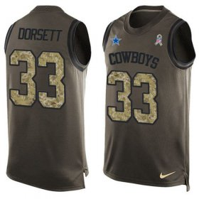 Wholesale Cheap Nike Cowboys #33 Tony Dorsett Green Men\'s Stitched NFL Limited Salute To Service Tank Top Jersey