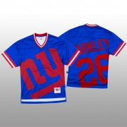 Wholesale Cheap NFL New York Giants #26 Saquon Barkley Blue Men's Mitchell & Nell Big Face Fashion Limited NFL Jersey