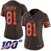 Wholesale Cheap Nike Browns #81 Austin Hooper Brown Women's Stitched NFL Limited Rush 100th Season Jersey