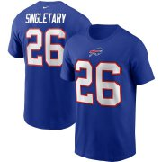 Wholesale Cheap Buffalo Bills #26 Devin Singletary Nike Team Player Name & Number T-Shirt Royal