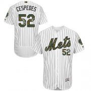 Wholesale Cheap Mets #52 Yoenis Cespedes White(Blue Strip) Flexbase Authentic Collection Memorial Day Stitched MLB Jersey