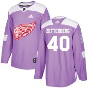 Wholesale Cheap Adidas Red Wings #40 Henrik Zetterberg Purple Authentic Fights Cancer Stitched NHL Jersey
