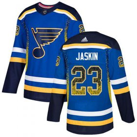 Wholesale Cheap Adidas Blues #23 Dmitrij Jaskin Blue Home Authentic Drift Fashion Stitched NHL Jersey
