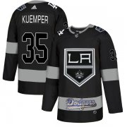 Wholesale Cheap Adidas Kings X Dodgers #35 Darcy Kuemper Black Authentic City Joint Name Stitched NHL Jersey