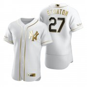 Wholesale Cheap New York Yankees #27 Giancarlo Stanton White Nike Men's Authentic Golden Edition MLB Jersey