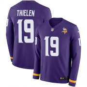 Wholesale Cheap Nike Vikings #19 Adam Thielen Purple Team Color Youth Stitched NFL Limited Therma Long Sleeve Jersey