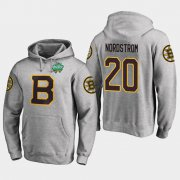 Wholesale Cheap Bruins #20 Joakim Nordstrom Gray 2018 Winter Classic Fanatics Primary Logo Hoodie