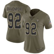 Wholesale Cheap Nike Saints #92 Marcus Davenport Olive Women's Stitched NFL Limited 2017 Salute to Service Jersey