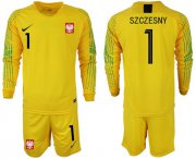 Wholesale Cheap Poland #1 Szczesny Yellow Goalkeeper Long Sleeves Soccer Country Jersey