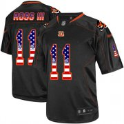 Wholesale Cheap Nike Bengals #11 John Ross III Black Men's Stitched NFL Elite USA Flag Fashion Jersey