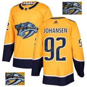 Wholesale Cheap Adidas Predators #92 Ryan Johansen Yellow Home Authentic Fashion Gold Stitched NHL Jersey