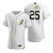 Wholesale Cheap New York Yankees #25 Gleyber Torres White Nike Men's Authentic Golden Edition MLB Jersey