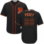 Wholesale Cheap Giants #28 Buster Posey Black Team Logo Fashion Stitched MLB Jersey