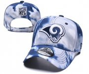 Wholesale Cheap Rams Team Logo Navy White Peaked Adjustable Fashion Hat YD