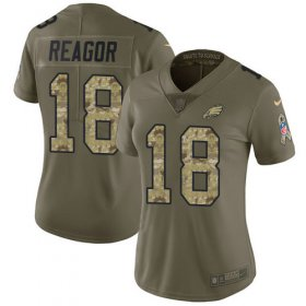 Wholesale Cheap Nike Eagles #18 Jalen Reagor Olive/Camo Women\'s Stitched NFL Limited 2017 Salute To Service Jersey