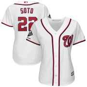 Wholesale Cheap Washington Nationals #22 Juan Soto Majestic Women's 2019 World Series Champions Home Official Cool Base Bar Patch Player Jersey White