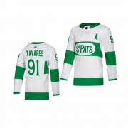 Wholesale Cheap Adidas Maple Leafs #91 John Tavares White 2019 St. Patrick's Day Authentic Player Stitched Youth NHL Jersey