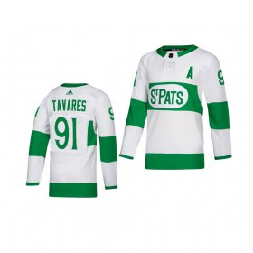 Wholesale Cheap Adidas Maple Leafs #91 John Tavares White 2019 St. Patrick\'s Day Authentic Player Stitched Youth NHL Jersey