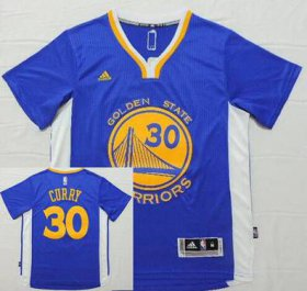 Wholesale Cheap Men\'s Golden State Warriors #30 Stephen Curry Revolution 30 Swingman 2014 New Blue Short-Sleeved Jersey