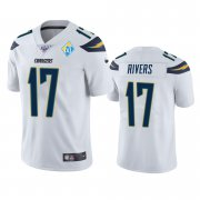 Wholesale Cheap Los Angeles Chargers #17 Philip Rivers White 60th Anniversary Vapor Limited NFL Jersey