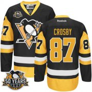 Wholesale Cheap Penguins #87 Sidney Crosby Black Alternate 50th Anniversary Stitched NHL Jersey