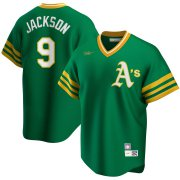 Wholesale Cheap Oakland Athletics #9 Reggie Jackson Nike Road Cooperstown Collection Player MLB Jersey Kelly Green