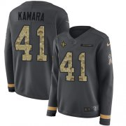 Wholesale Cheap Nike Saints #41 Alvin Kamara Anthracite Salute to Service Women's Stitched NFL Limited Therma Long Sleeve Jersey