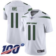 Wholesale Cheap Nike Jets #11 Denzel Mim White Youth Stitched NFL 100th Season Vapor Untouchable Limited Jersey