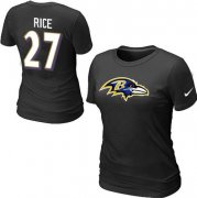 Wholesale Cheap Women's Nike Baltimore Ravens #27 Ray Rice Name & Number T-Shirt Black