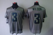Wholesale Cheap Nike Seahawks #3 Russell Wilson Grey Shadow Men's Stitched NFL Elite Jersey