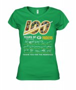 Wholesale Cheap Green Bay Packers 100 Seasons Memories Women's T-Shirt Green