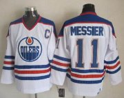 Wholesale Cheap Oilers #11 Mark Messier White CCM Throwback Stitched NHL Jersey
