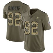 Wholesale Cheap Nike Eagles #92 Reggie White Olive/Camo Men's Stitched NFL Limited 2017 Salute To Service Jersey