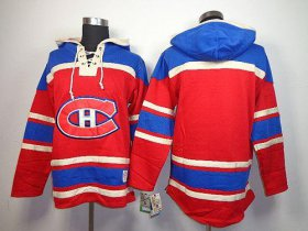 Wholesale Cheap Canadiens Blank Red Sawyer Hooded Sweatshirt Stitched NHL Jersey