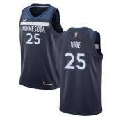 Wholesale Cheap Nike Timberwolves 25 Derrick Rose Navy Blue Swimgman Jersey