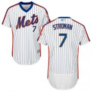 Wholesale Cheap Mets #7 Marcus Stroman White(Blue Strip) Flexbase Authentic Collection Alternate Stitched MLB Jersey