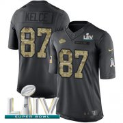 Wholesale Cheap Nike Chiefs #87 Travis Kelce Black Super Bowl LIV 2020 Youth Stitched NFL Limited 2016 Salute to Service Jersey