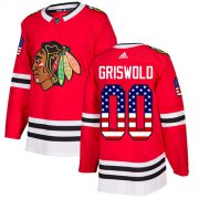 Wholesale Cheap Adidas Blackhawks #00 Clark Griswold Red Home Authentic USA Flag Stitched NHL Jersey