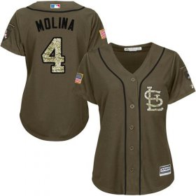 Wholesale Cardinals #4 Yadier Molina Green Salute to Service Women\'s Stitched Baseball Jersey