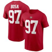 Wholesale Cheap San Francisco 49ers #97 Nick Bosa Nike Team Player Name & Number T-Shirt Scarlet