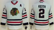 Wholesale Cheap Blackhawks #2 Duncan Keith White Stitched youth NHL Jersey