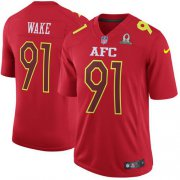Wholesale Cheap Nike Dolphins #91 Cameron Wake Red Men's Stitched NFL Game AFC 2017 Pro Bowl Jersey