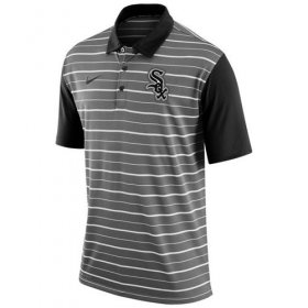 Wholesale Cheap Men\'s Chicago White Sox Nike Gray Dri-FIT Stripe Polo
