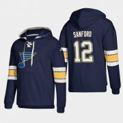 Wholesale Cheap St. Louis Blues #12 Zach Sanford Blue adidas Lace-Up Pullover Hoodie