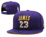 Wholesale Cheap Men's Los Angeles Lakers #23 LeBron James Purple Snapback Ajustable Cap Hat