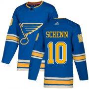 Wholesale Cheap Adidas Blues #10 Brayden Schenn Blue Alternate Authentic Stitched NHL Jersey