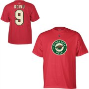 Wholesale Cheap Minnesota Wild #9 Mikko Koivu Reebok Name and Number Player T-Shirt Red
